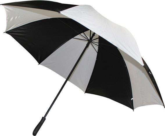 Paraguas Gigante Reforzado Blanco Con Negro Con Funda