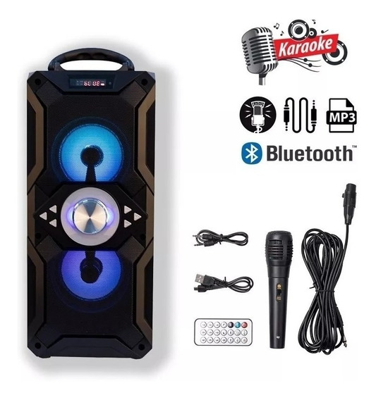 Caixa De Som Bluetooth Portátil Microfone Pendrive Sd Aux