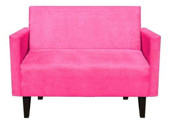 Sofá Retrô Compacto Jade 2 Lugares Suede Rosa Barbie