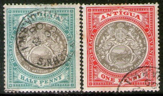 Antigua 2 Sellos Usados Escudo De La Colonia Años 1903-09