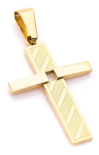Pingente Crucifixo P/ Corrente Aço J-317 Banhado Ouro