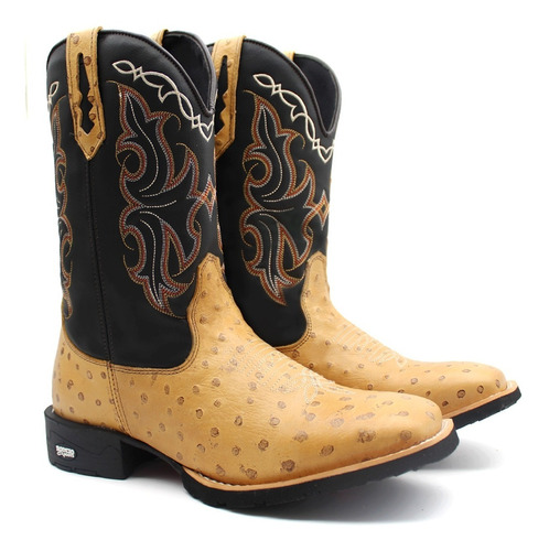 Bota Texana Country Masculina Em Couro Lançamento Promoção