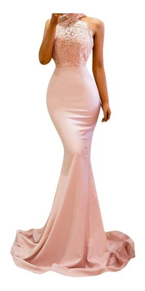 Vestido Rosa Halter Fiesta Egreso Matrimonio Jolie Robe -g21