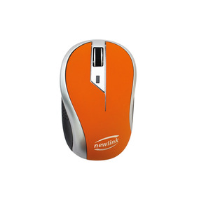 Mouse Sem Fio Wave Laranja 1600dpi Usb Nano Botão Newlink