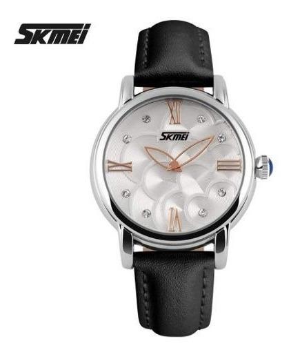 Relógio Prata Couro Preto Feminino Vintage Original