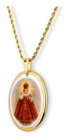 Medalha Menino Jesus De Praga Ouro Design Medalhas