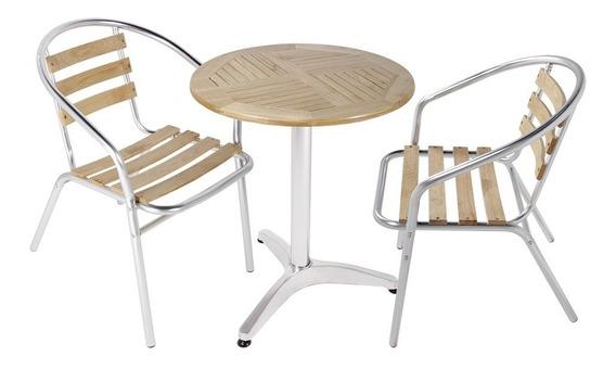 Kit Mesa+2 Cadeiras Bistrô Bar Em Alumínio E Madeira Leysin
