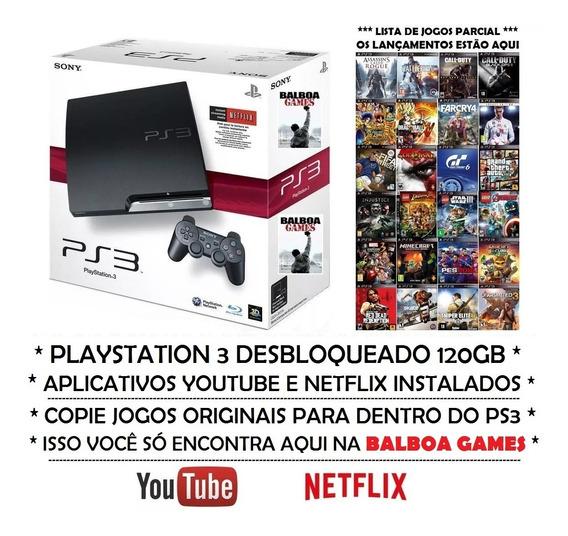 Playstation 3 Ps3 Desbloqueado + 2265 Brindes + Controle