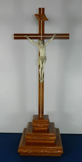 Antiguo Cristo Tallado Labrado A Mano Cruz De Madera Francés