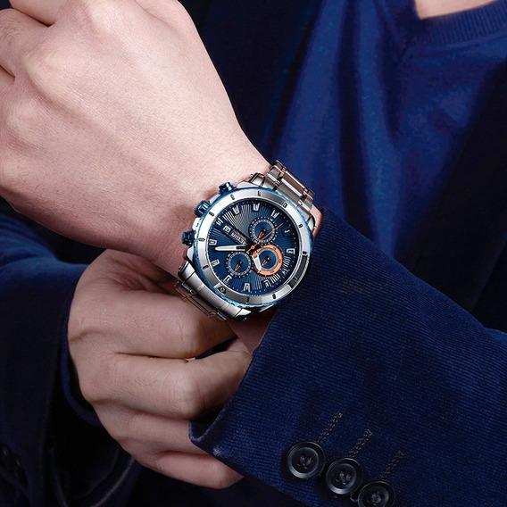 Relógio De Pulso Masculino Aço Inoxidável Megir Social Azul