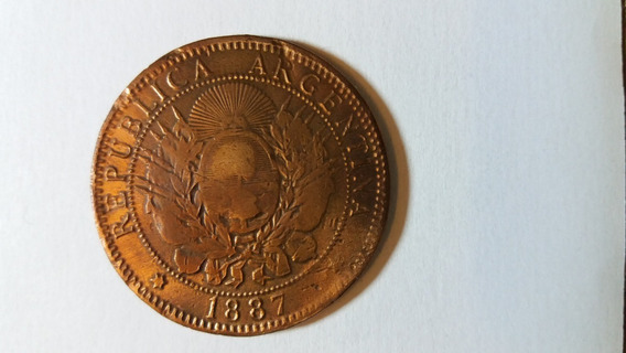 Moneda Argentina 2 Centavos. Patacón. Cobre. Año 1887