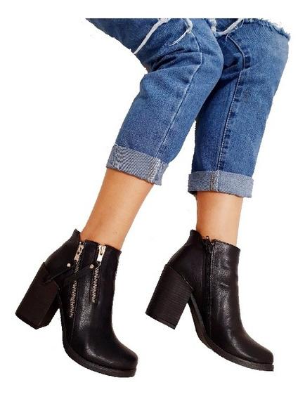 Botas Mujer Botinetas Taco Palo Cierres Zapatos Moda Mujer