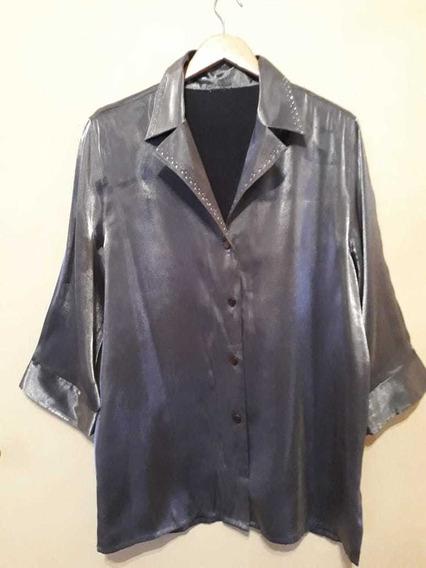 Camisa Metalizada De Seda
