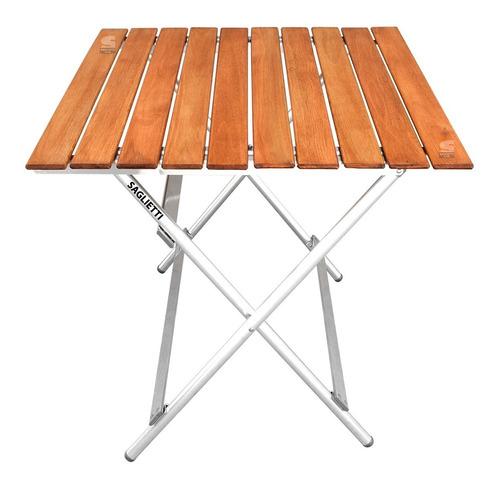 Mesa Plegable Aluminio Madera 84x75 Balcon Jardin Camping