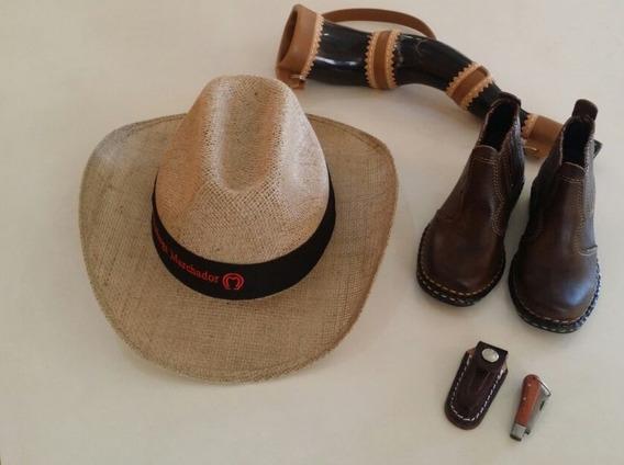 Bota Country Infantil + Berrante + Chapéu Bainha E Canivete