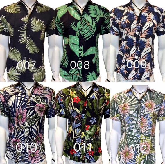 Kit5 Camisas Flor Masculina Viscose Verão Hawaii Top Atacado
