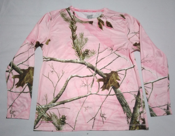 Remera Camuflada Real Tree Talle L Rosa