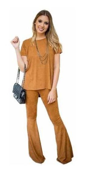 Conjunto Calça Flare Blusinha Camiseta De Amarrar Suede