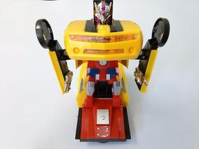 Mini Camaro Amarelo,vira Robô,emite Luz,som Transformers