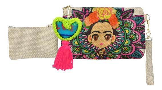 Cosmetiquera Dama Yute Pompones Mexicana Frida, Haz Negocio!