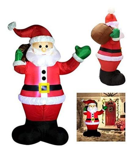 Inflable Navideño Santa Claus C/ Bolsa D Regalos Luz Led *sk