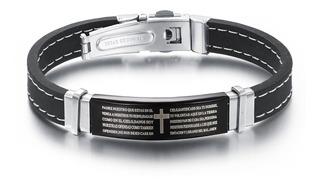 Pulseira Masculina Bracelete Preto Pai Nosso Silicone + Aço