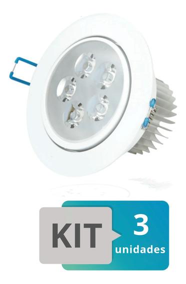 Kit 3 Spot Led Embutir Redondo Direcionável 5w Branco Frio