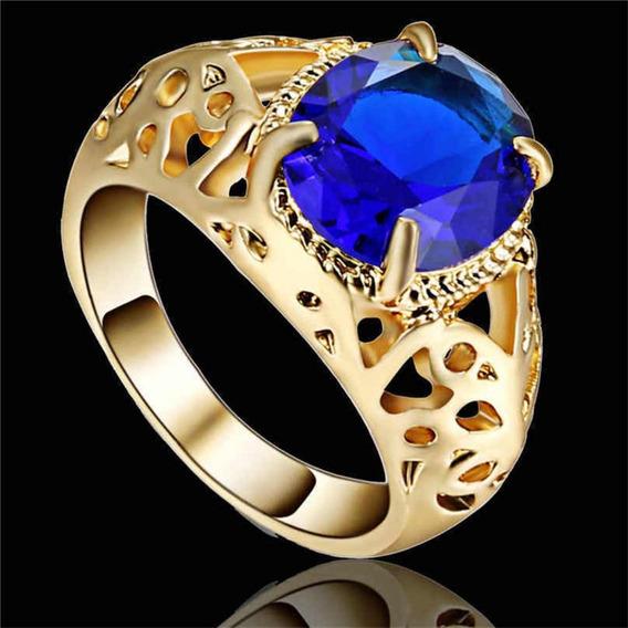 Anel Feminino Vazado Com Cristal Safira Azul Dia Beleza 228