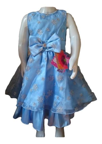 Vestido Infantil Festa Elsa Frozen Luxo Azul Com Prata