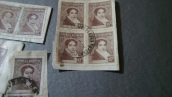 25 Estampillas De Bernardino Rivadavia Antiguas De 10 C
