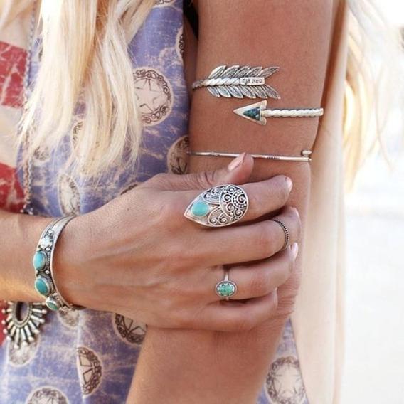 Bracelete Boho Hippie Étnico Tribal Lança Flecha
