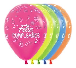 Globo R-12 Sempertex X 50 Feliz Cumpleaño Fiesta Neón Infiny