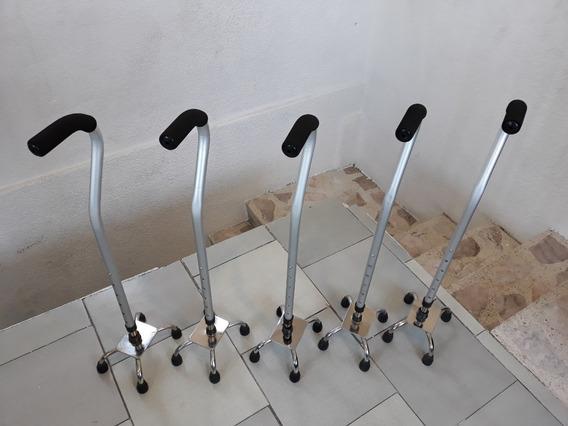 Bastón 4 Apoyos Base Cromada Ganso Aluminio Con Anillo