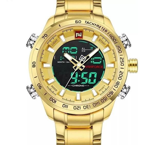 Relógio Masculino Naviforce Original Pulseira Aço Inoxidavel