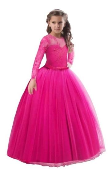Vestido Niña Fiesta Paje Rosa Fiusha/tul