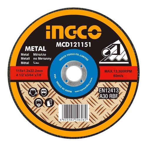 Imagen 1 de 2 de Disco De Corte 4½ Ingco 1.2mm Para Metal Mcd121151