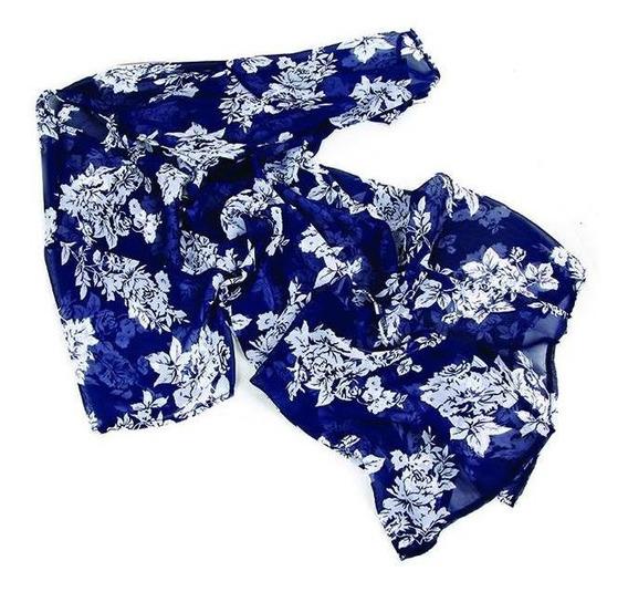 Kimono 125cm Largo Poliester Con Mangas Flores-liso