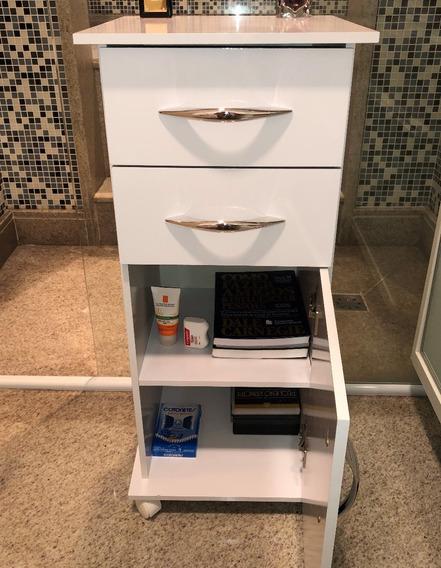 Armário Para Banheiro Gabinete Multiuso Com Rodinhas Branco