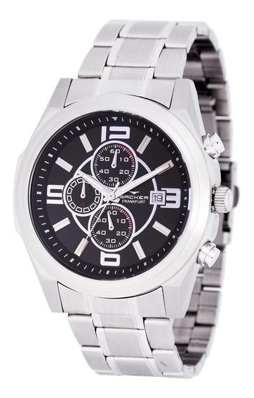 Relógio Backer Masculino 11000653m Pr Cronógrafo Prateado