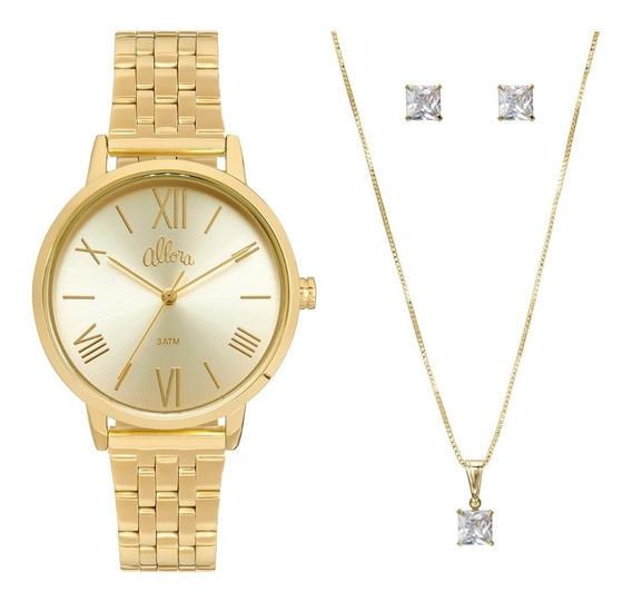Relógio Feminino Allora Analógico Dourado Com Brinco E Colar