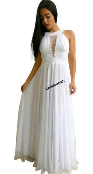 Vestido Noiva Branco Casamento Civil Cartório Campo Longo