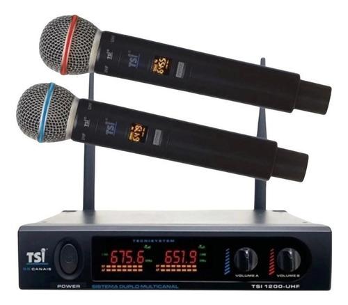 Imagem 1 de 5 de Microfone Digital S/fio Duplo Tsi Ud1200 Uhf Com 96 Canais