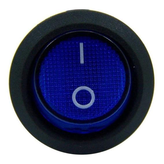 10 Botão Led Liga/desliga 12v Chave Gangorra Azul Barato