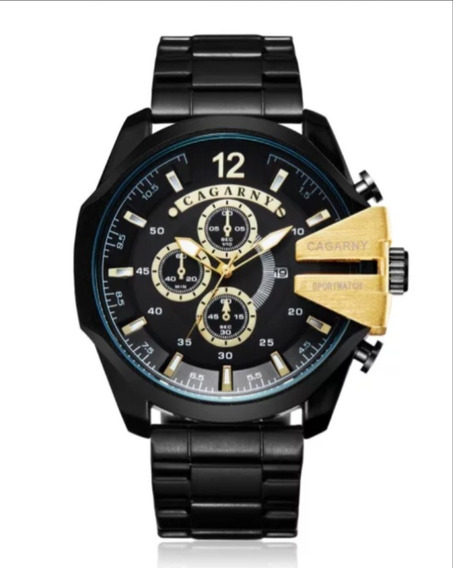 Relógio Masculino Cagarny 6839 Luxo Original Aço Inoxidável