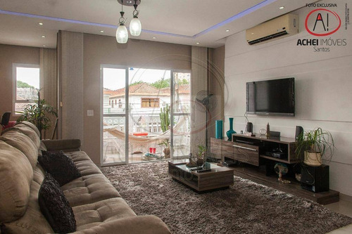 Casa Duplex Com 3 Dormitórios, 3 Suites 2 Vagas Paralelas  À Venda, 242 M² Por R$ 1.350.000 - Aparecida - Santos/sp - Ca1754
