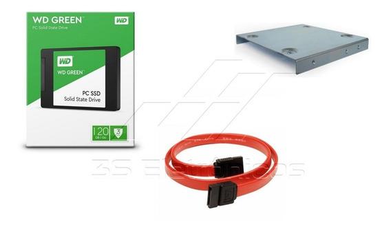 Kit Ssd Wd Green 120gb 2.5 Sata + Suporte Pc E Desktop + Cabo Sata C/ Nf