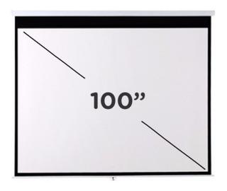 Pantalla Proyector 100 Pulgadas Colgar Pared Techo Retractil Manual