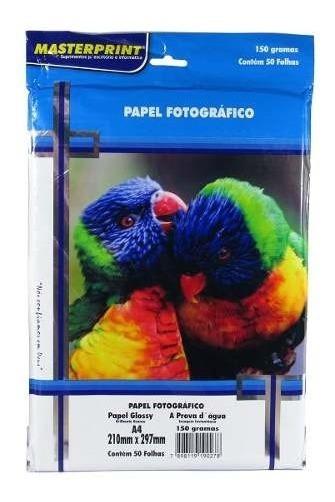 Papel Fotográfico Glossy Masterprint A4 150 Gramas 50 Folha