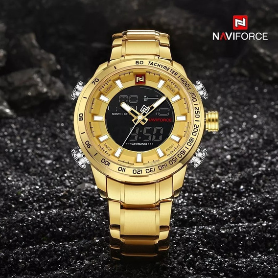 Relógio Masculino Dourado Prova Dágua Estojo Barato Original