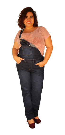 Jardineira Longa Jeans Strech Plus Size Lavagem Stone Blue